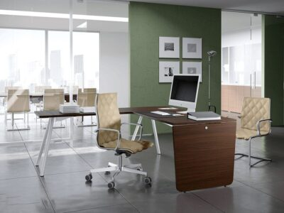 Leo – Wooden Executive Desk with Contrasting Legs - Desk