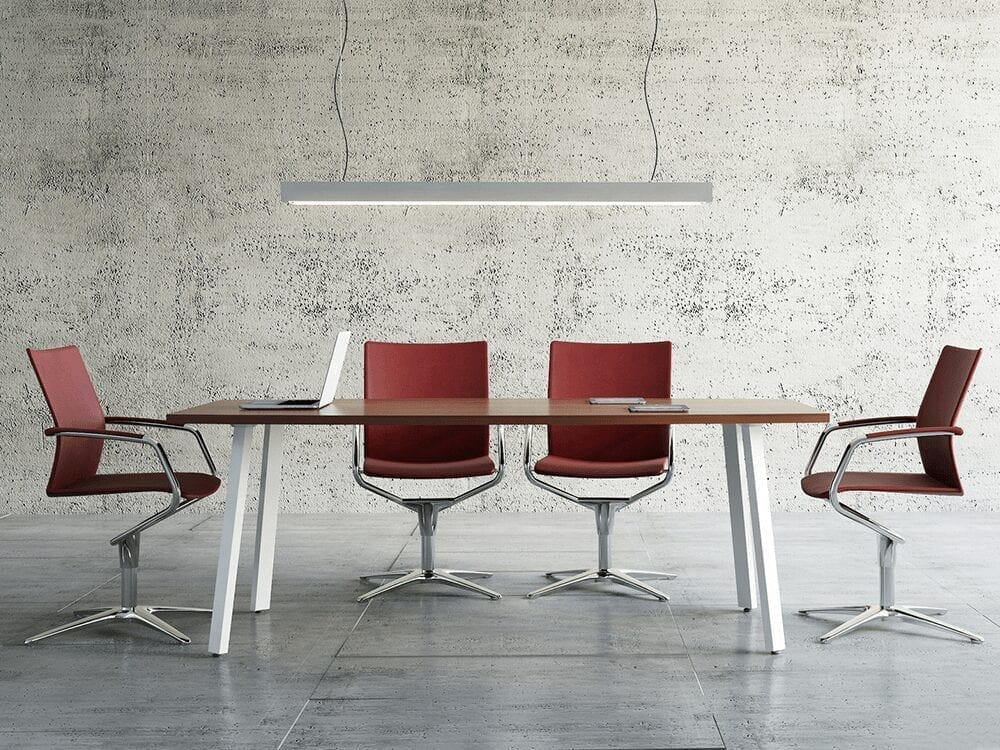 Solera – Barrel Shaped Meeting Table with White Legs - Desk