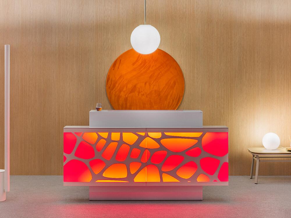 Olie – White Reception Desk With Back Lit Rgb Colour Light1