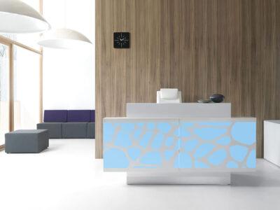 Olie – White Reception Desk With Back Lit Rgb Colour Light2