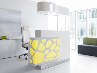 Olie – White Reception Desk With Back Lit Rgb Colour Light3