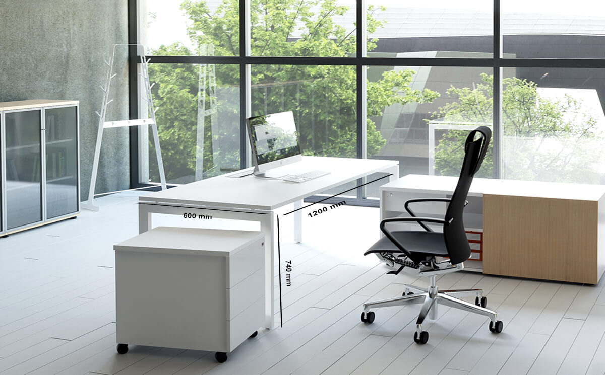 Perry – Straight Office Desk With White Legs (1)