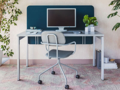 Perry – Straight Office Desk With White Legs