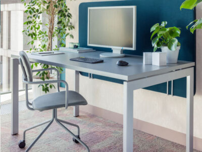 Perry – Straight Office Desk With White Legs1