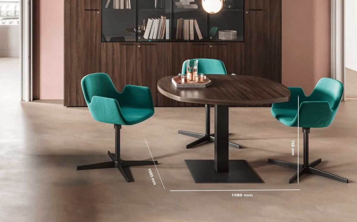 Ariel – Round Meeting Table with Square Leg Base