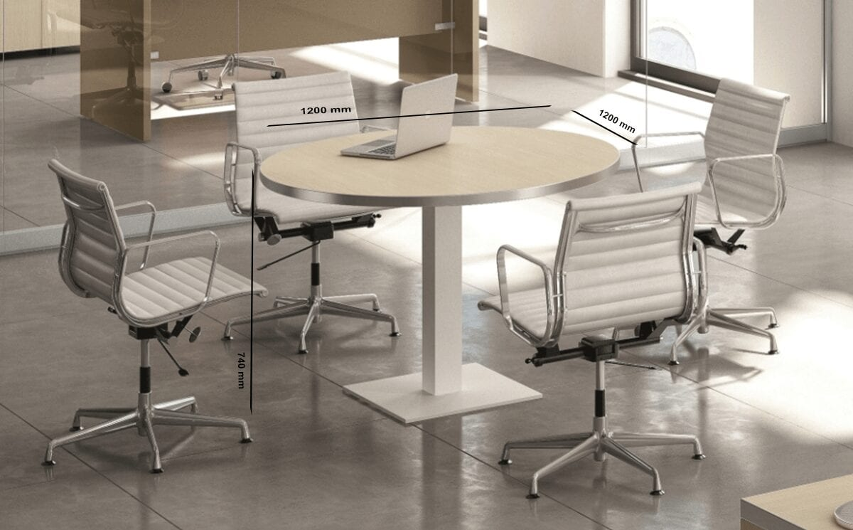 Olea – Round Meeting Table with Square Base