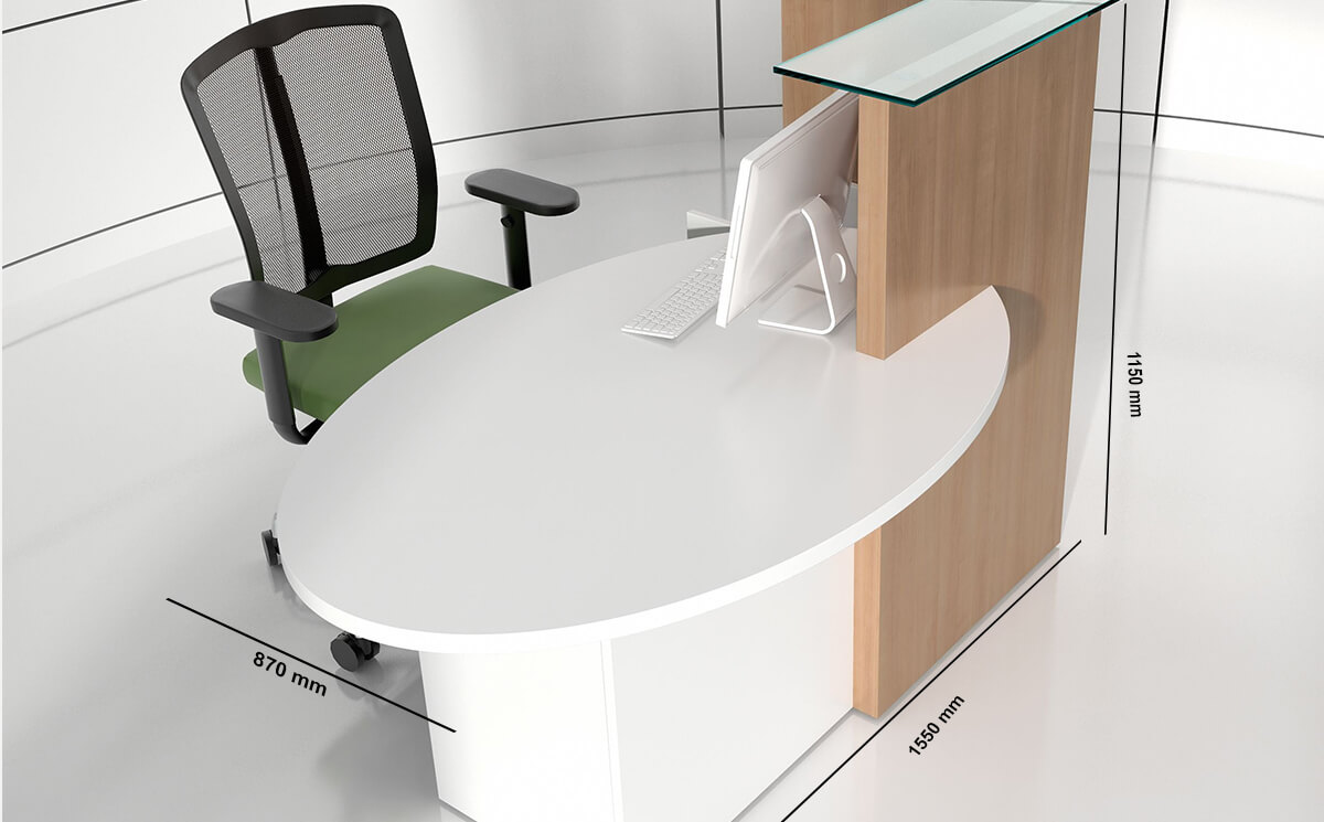 Size Everly – Small Reception Desk In White