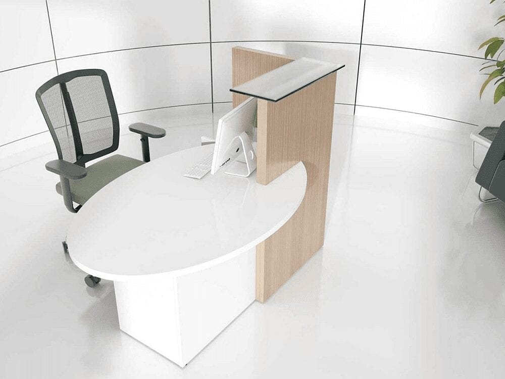 Everly – Small Reception Desk in White -