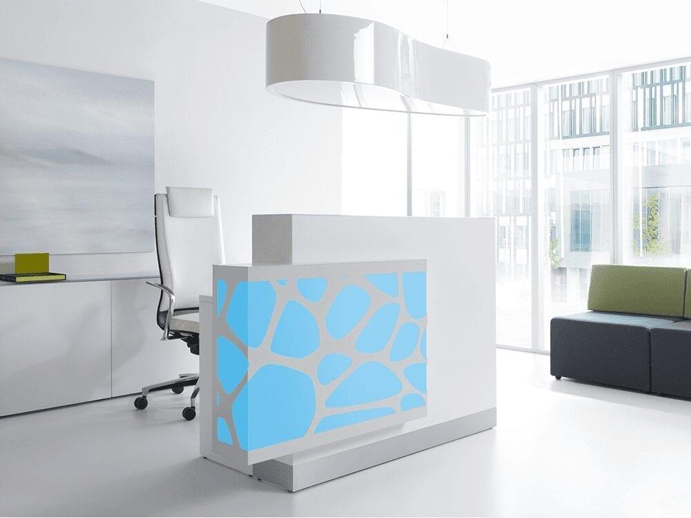 Olie – White Reception Desk with Back lit RGB Colour Light -