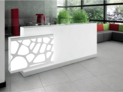 Olie – White Reception Desk with Back lit RGB Colour Light