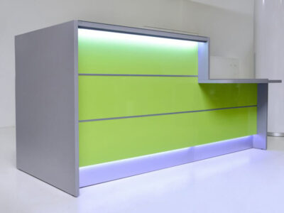 Alba 3 – Grey Reception Desk With Lime Front