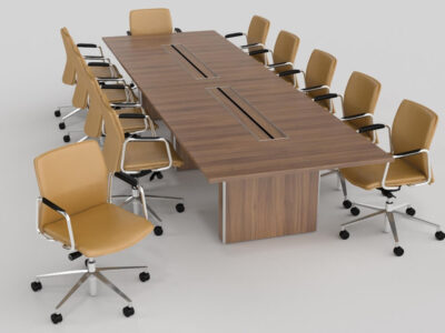 Aurora – Rectangle Boardroom Table With Slab Legs..