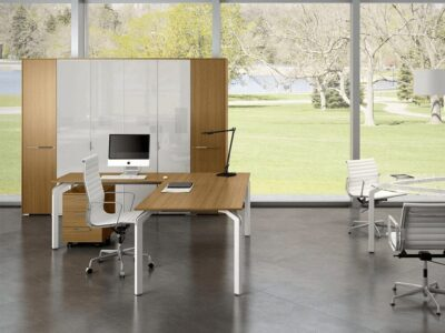 Aislinn – Aluminium Leg veneer Executive Desk