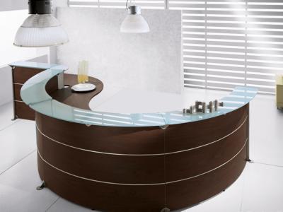 Benito 3 – Dark Oak Reception Desk With Glass Shelf Top