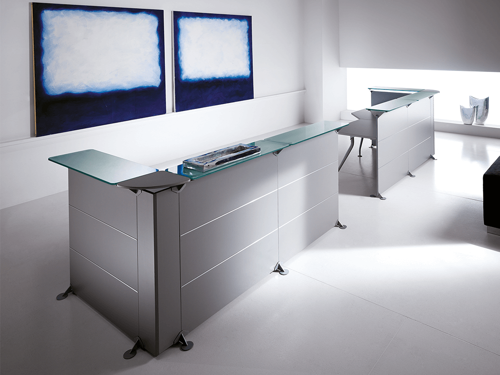 Benito 4 – Reception Desk In Grey With Glass Top