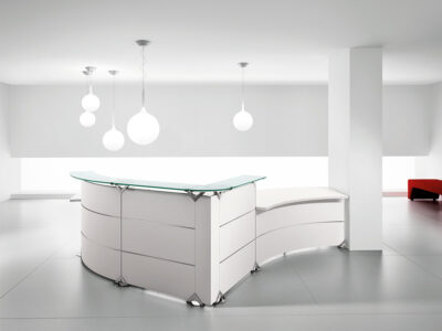 Benito 5 – Curved Reception Desk With Aluminium Stripe Finishes And Dda Approved Wheelchair Access Unit1