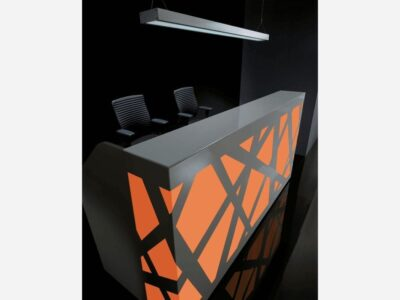 Renzo 2 – Black Reception Desk with Multi-Coloured Front Lights