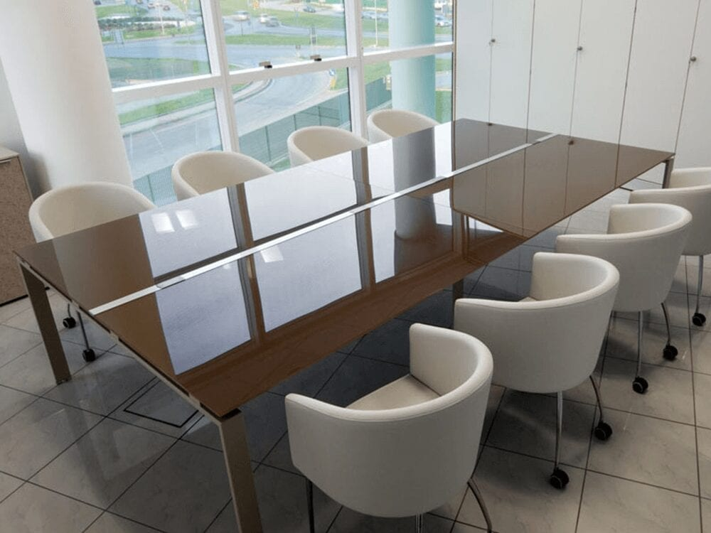 Luxe – Rectangle Glass Top Conference Table