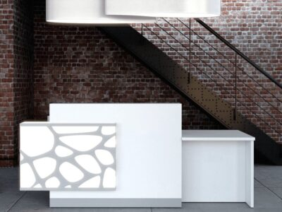 Jolie – Bright Reception Desk in White with Multi-coloured Fronts