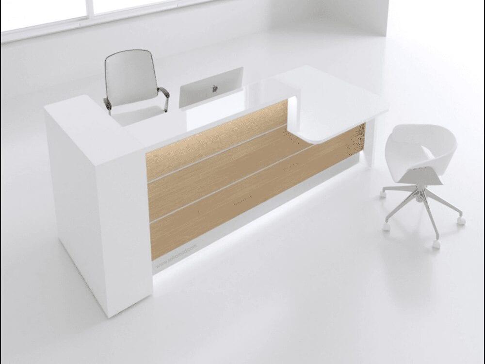 Alba 5 – Canadian Oak Front Reception Desk in White