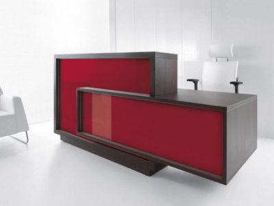 Contemporary Reception Desk With Wheelchair Access – Antole Chestnut Burgundy Right