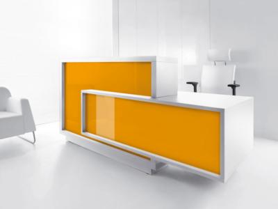 Contemporary Reception Desk With Wheelchair Access – Antole White Orange Right