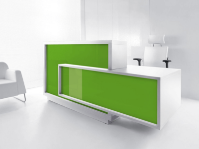 Contemporary Reception Desk With Wheelchair Access – Antole Whitet Lime Right