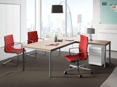 Devon – L-Shaped Executive Desk with Metal Legs