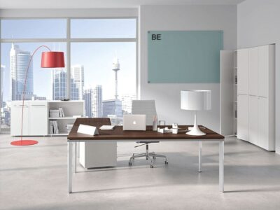Devon – L-Shaped Executive Desk with Metal Legs