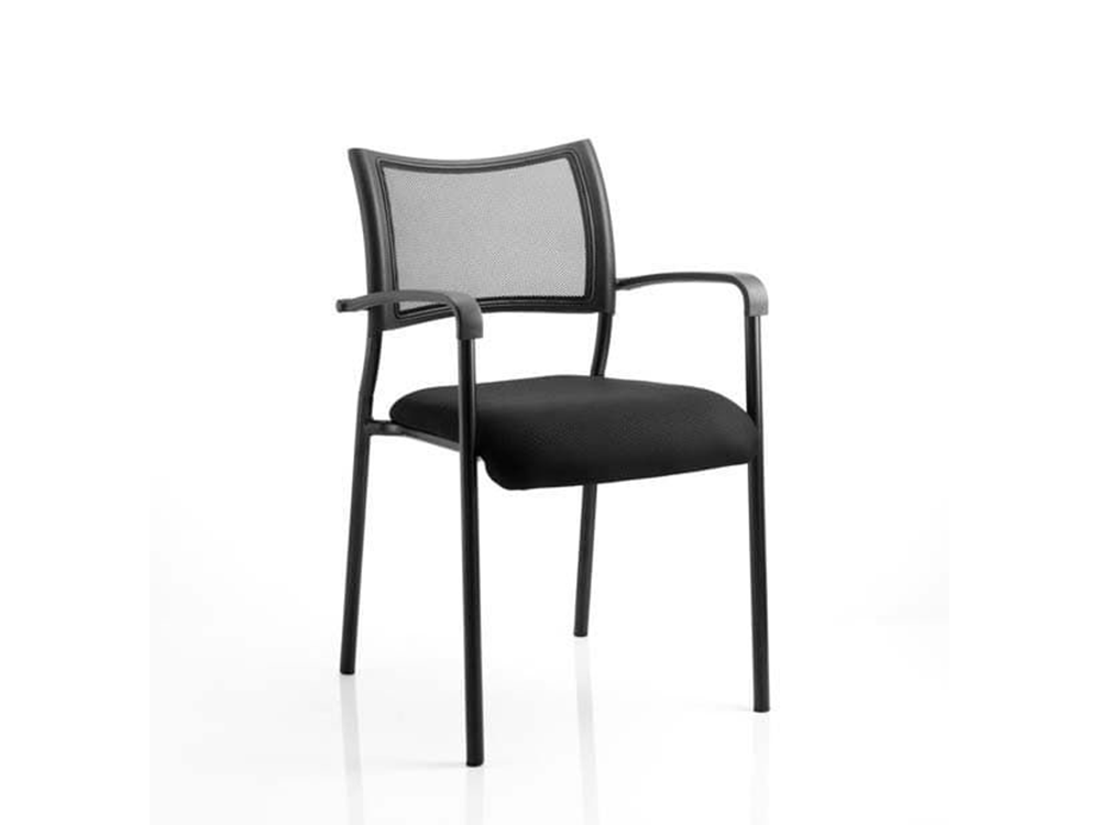 Dale – Mesh Back Visitor Chair Black With Arms Bllack