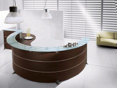 Benito 12 – Dark Oak Reception Desk with Glass Shelf Top