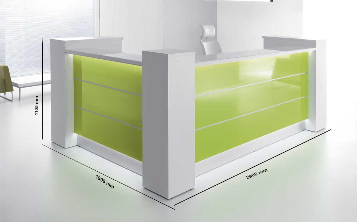Dimension Alba 8 – Grey Reception Desk With White Front