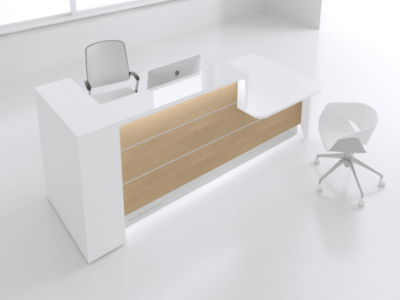 Green Lacquered Reception Desk In White–altair At 8 Main Left Oak 41l 451l