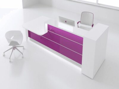 Alba 2 – Reception Desk in White with Wheelchair Access (Altair AT 9)