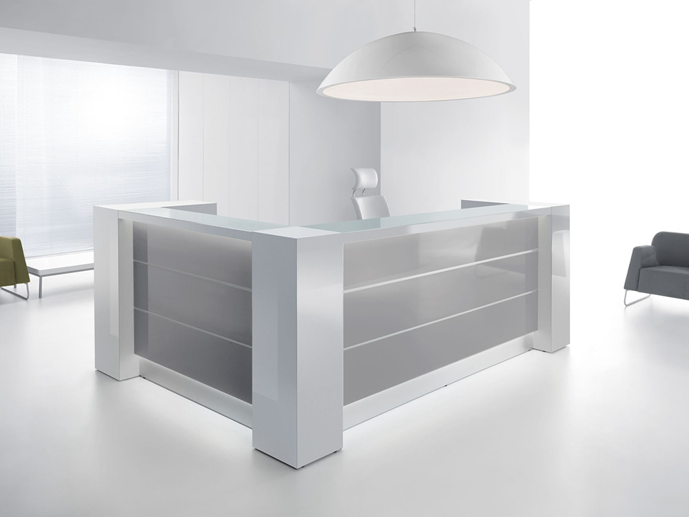 Grey Reception Desk With White Front–altair At 5 Gray Main Image