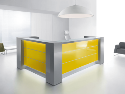 Grey Reception Desk With White Front–altair At 5 Yellow