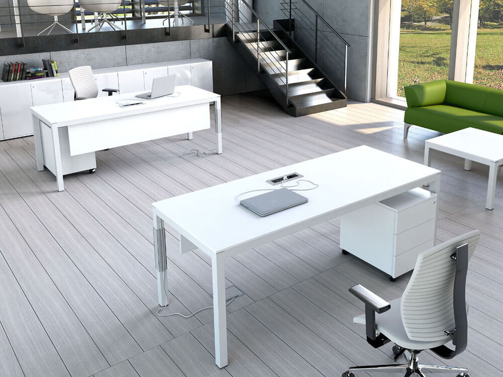 Halo – Frosted Glass Top Executive Desk With Optional Return