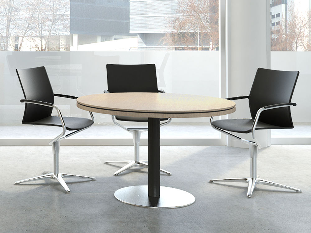 Hamburg – Round Meeting Table With Grey Column
