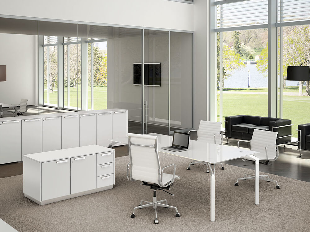 Hue – Glass Executive Desk With White Legs