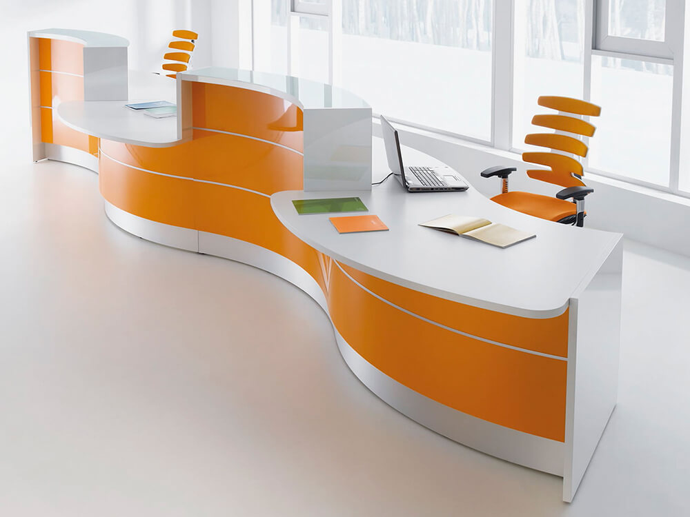 Lois – Wave Reception Desk In Orange Lacquered Front