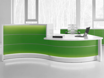 Lois – Wave Reception Desk In Orange Lacquered Front1