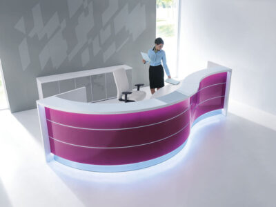 Lois – Wave Reception Desk In Orange Lacquered Front3