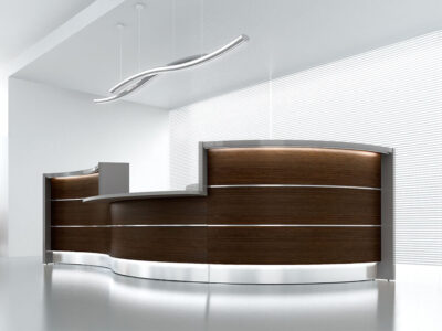 Lois – Wave Reception Desk In Orange Lacquered Front4