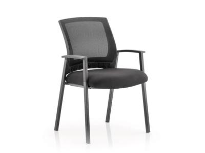 Metro Visitor Chair Black Fabric Black Mesh Back Black