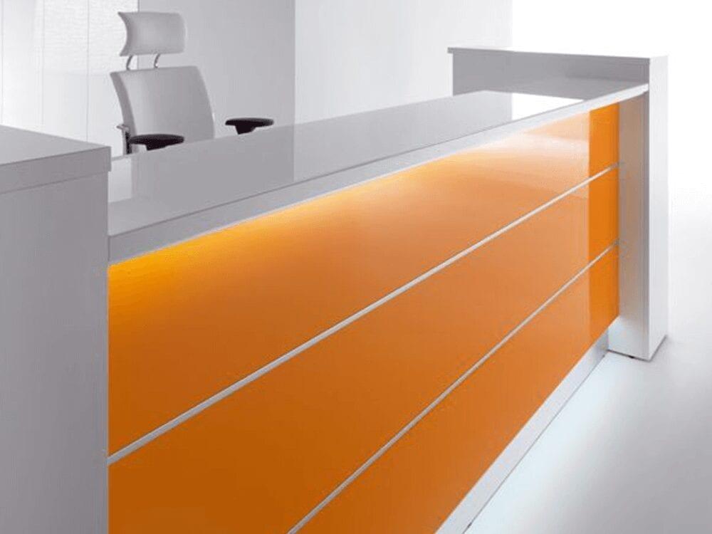 Alba 4 – Modern Lacquered Reception Desk in Grey