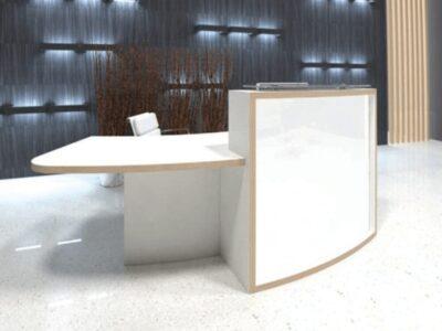 Reem – Natural Dijon Walnut Reception Desk