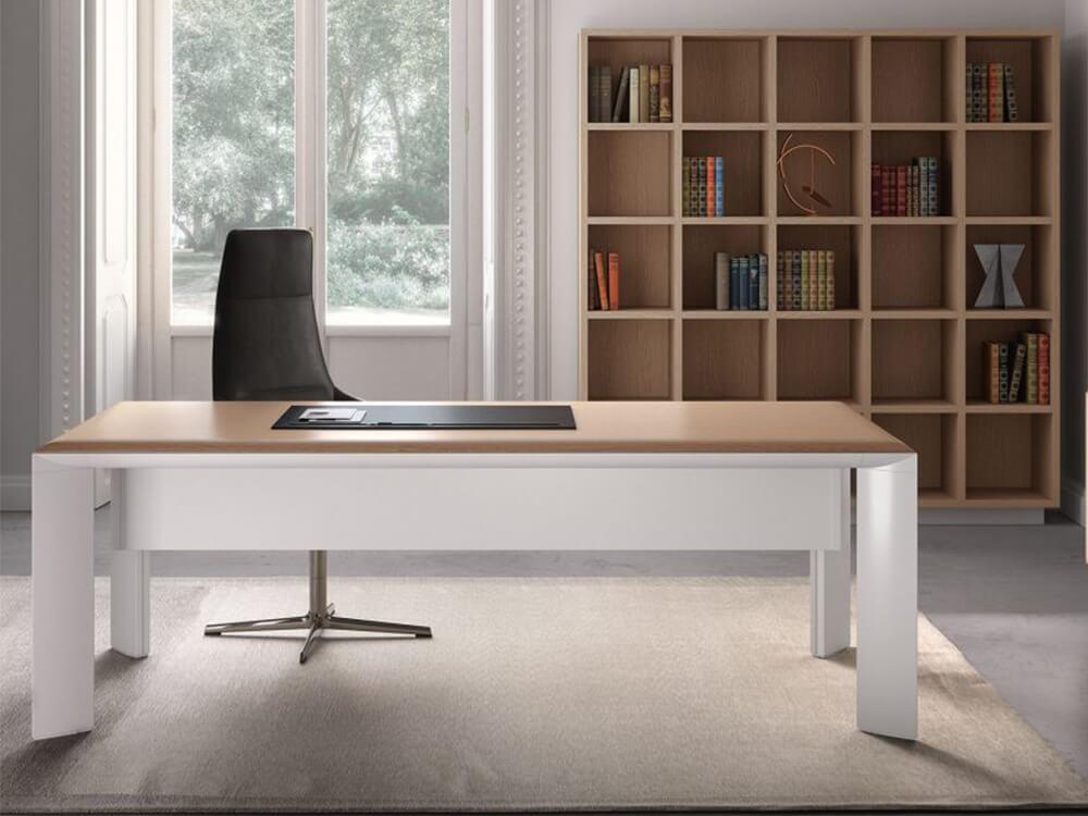 Naya – Executive Desk With Aluminium Legs And Optional Credenza Unit