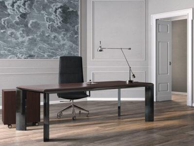 Naya – Executive Desk With Aluminium Legs And Optional Credenza Unit2