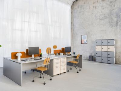 Noah – White Operational Office Desk With Slab Leg1