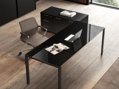 Om U Leg Glass Executive Desk 1